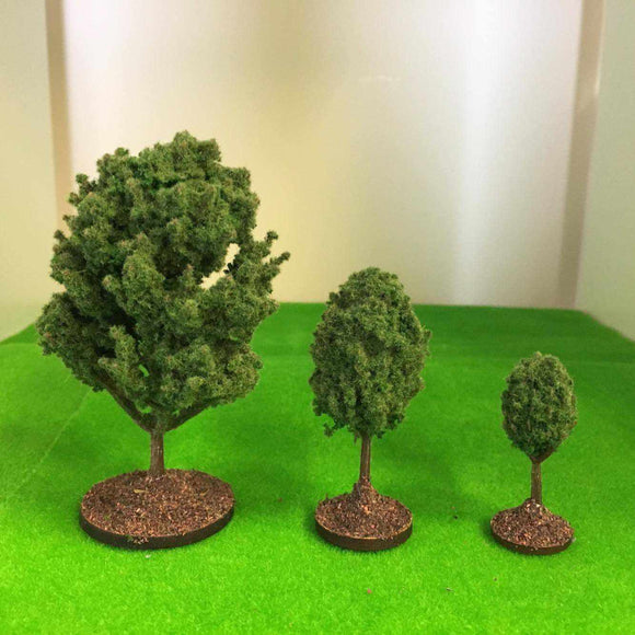 Mid Green Deciduous Bushy Trees  - Plastic crafted