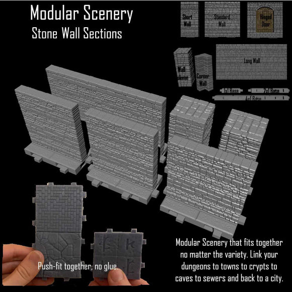 Stone Wall Sections - Modular Scenery