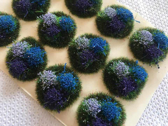 Medium Purple and Blue Flowers Tuft Dioramas - Static Grass Tufts