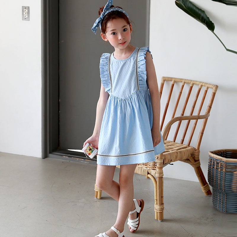 Girl's Blue Frill Sleeve Summer Dress