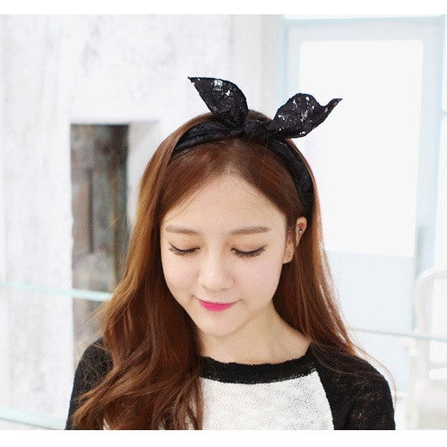 Girls Lace Flex Bow Headband - -