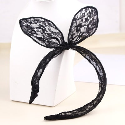 Girls Lace Flex Bow Headband - Black -