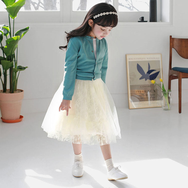 Girl's A-Shaped Spring Summer Lace Skirt - MMN