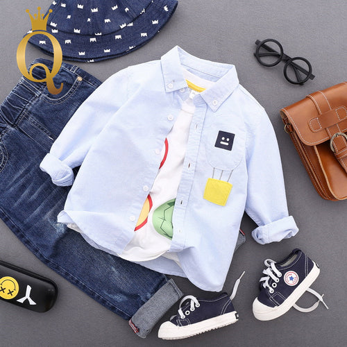 Boys Patch And Embroidery Shirt - -