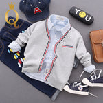 Boys Strip Edge Knitted Cardigan - 100 (3-4Y) / Light Grey -