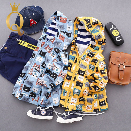Boys Cat Print Parka Jacket - -