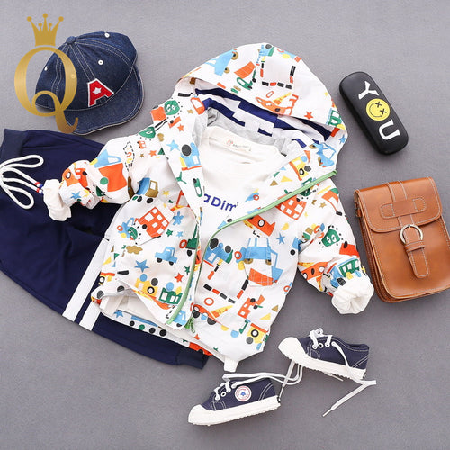 Boys Colourful Car Print Parka Jacket - 100 (3-4Y) / White -