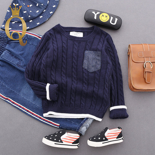 Boys Cable Knitted Contrast Colour Crew - 90 (2-3Y) / Navy -