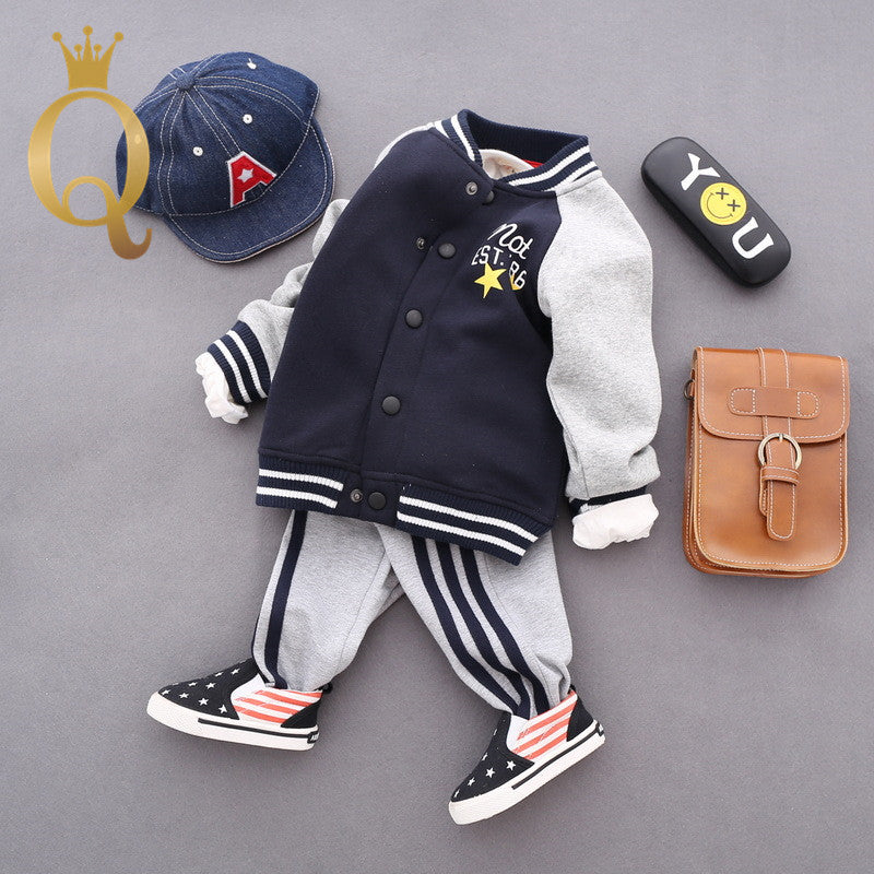 Boys Spliced Sleeve Fleeced Lining Bomber - 100 (3-4Y) / Navy Body -
