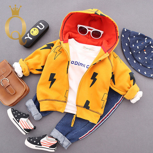 Boys Stylish Lightening Print Zip Through Hoody - 100 (3-4Y) / Yellow -