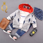 Boys Stylish Lightening Print Zip Through Hoody - 100 (3-4Y) / Grey -