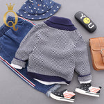 Boys Shawl Collar Ripple Knitted Jumper - -