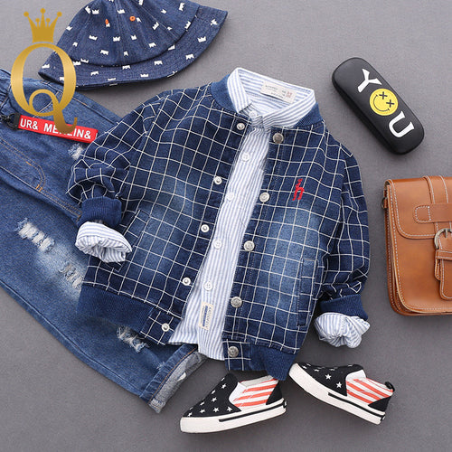 Boys Grid Soft Denim Bomber Jacket - -