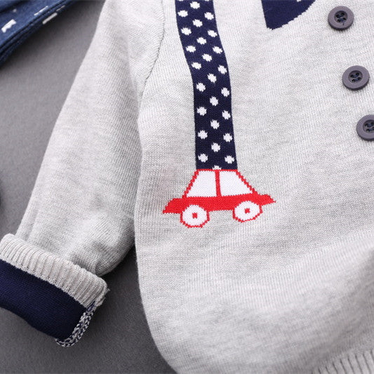 Boys Bow-Tie And Straps Knitted Grey Jumper - -