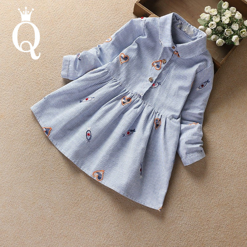 Girl's Embroidery Blue Shirt Dress