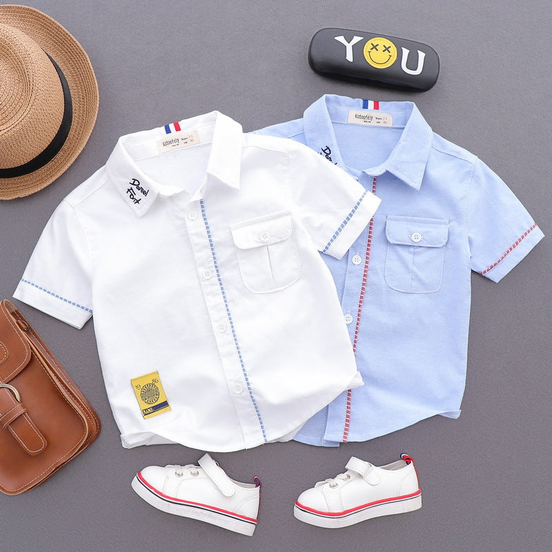 Boy's Short Sleeve Strap Detail Summer Shirt