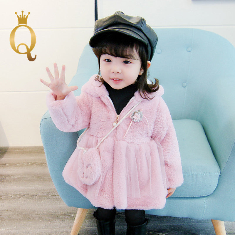 Girls Faux Fur Winter Dress Coat With Matching Bag (2 Piece Set) - -
