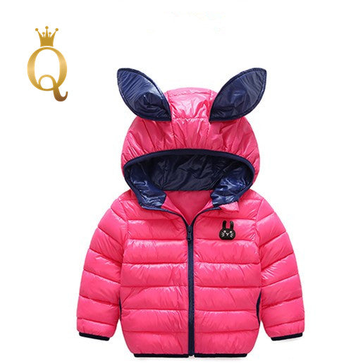 Girl's Bright Colored Rabbit Ear Padded Winter Jacket