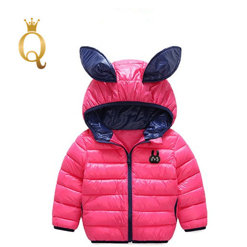 Girls Bright Colored Rabbit Ear Padded Winter Jacket - 90 (2-3Y) / Rose Pink -