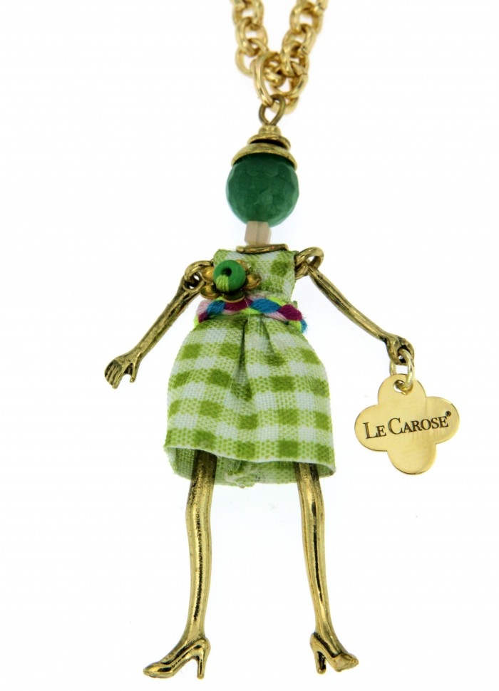 Girl's Dolly Necklace - Green Grid
