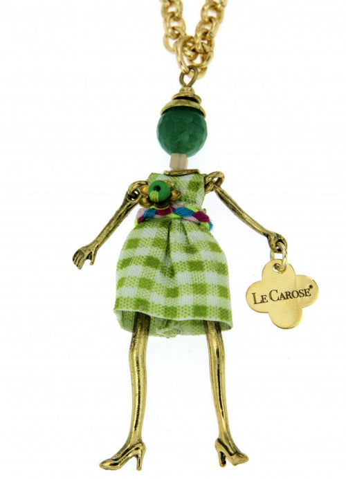 Girls Dolly Necklace - Green Grid - -