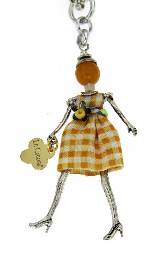 Girl's Dolly Necklace - Yellow Grid