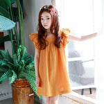 Girl's Orange Frill Sleeve Summer Dress