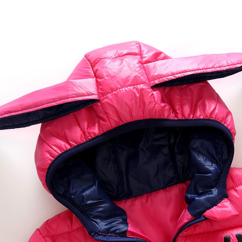 Girls Bright Colored Rabbit Ear Padded Winter Jacket - -