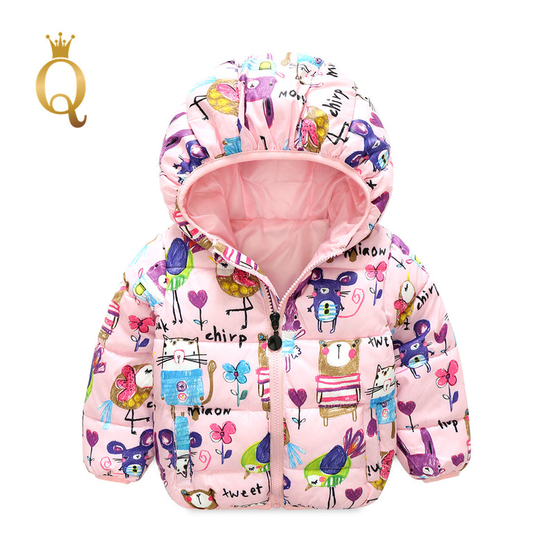 Unisex Animal Printed Padded Winter Jacket - 90 (2-3Y) / Pink -