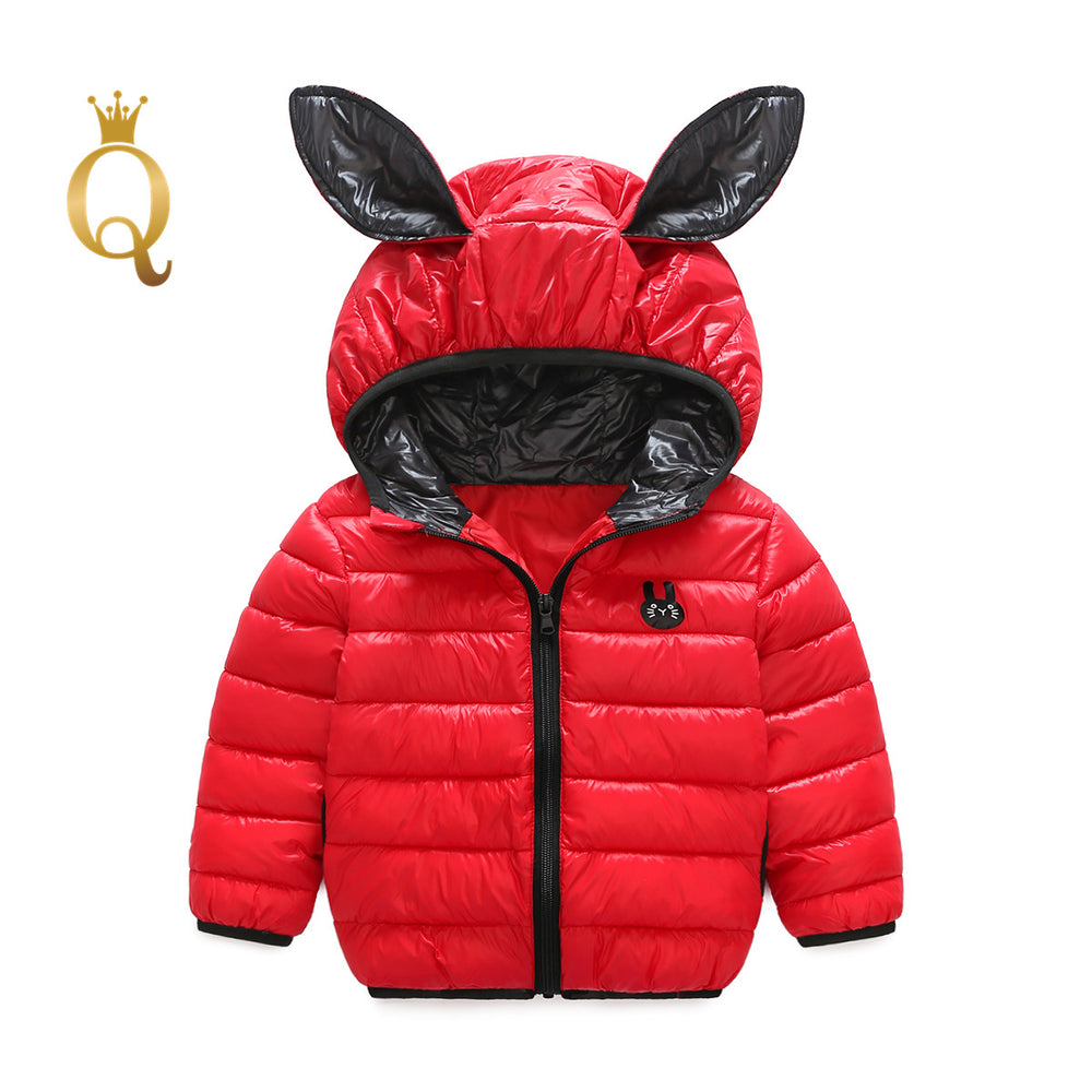 Girls Bright Colored Rabbit Ear Padded Winter Jacket - 90 (2-3Y) / Red -