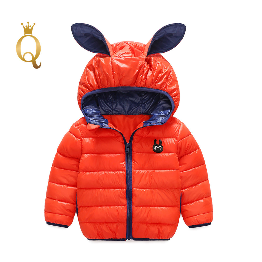 Girls Bright Colored Rabbit Ear Padded Winter Jacket - 90 (2-3Y) / Orange -