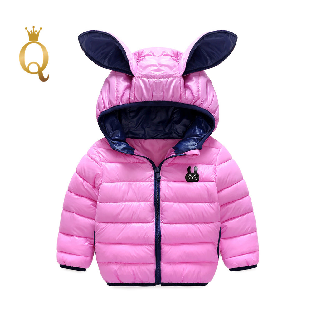 Girls Bright Colored Rabbit Ear Padded Winter Jacket - 90 (2-3Y) / Light Pink -