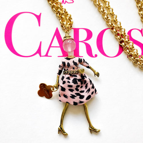 Girls Dolly Necklace - Pink Leopard - -