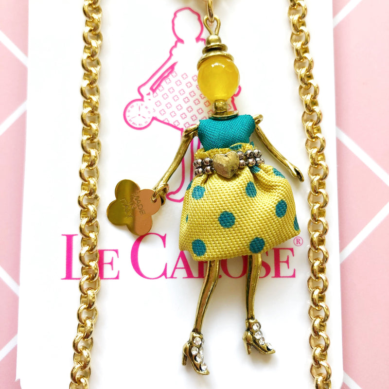 Girls Dolly Necklace - Polka Dot Skirt - -