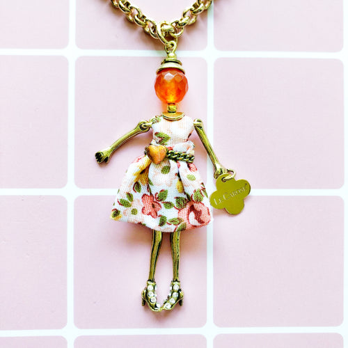 Girls Dolly Necklace - Peach Flower - -