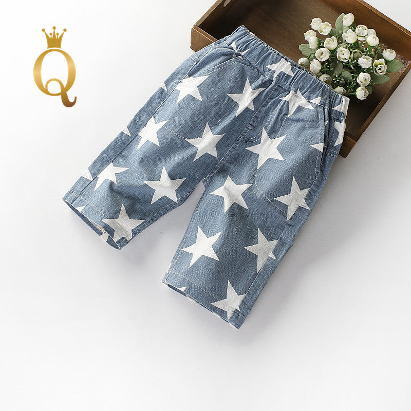 Boy's Knee Length Star Print Summer Shorts