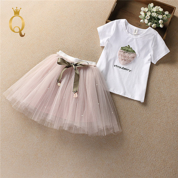 Girl's Strawberry T-Shirt and Tutu Skirt Set Summer (2 Piece Set)