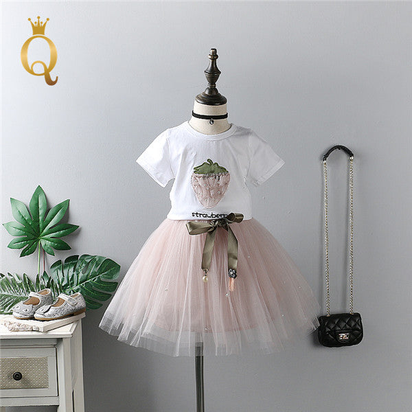 Girls Strawberry T-Shirt And Tutu Skirt Set (2 Piece Set) - 100 (3-4Y) / Pink - In Transit