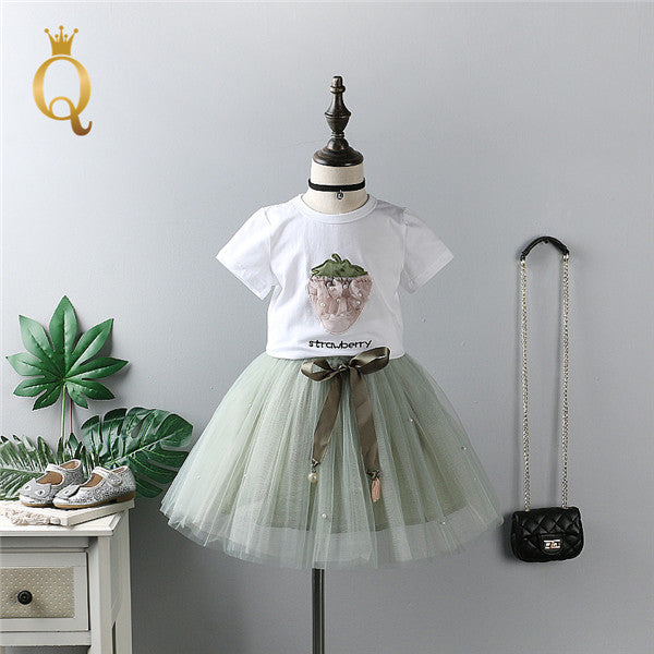 Girls Strawberry T-Shirt And Tutu Skirt Set (2 Piece Set) - 100 (3-4Y) / Green - In Transit