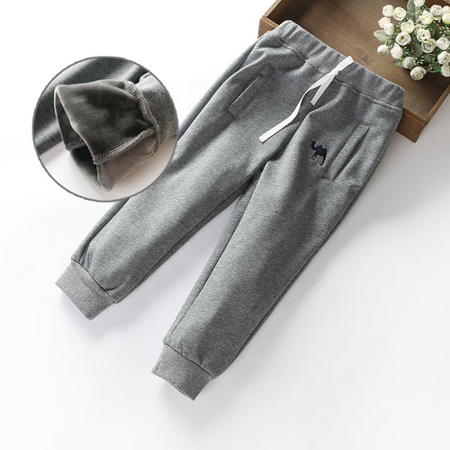 Boys Winter Full Fleece Lining Tracksuit Bottom - 100 (3-4Y) / Grey -