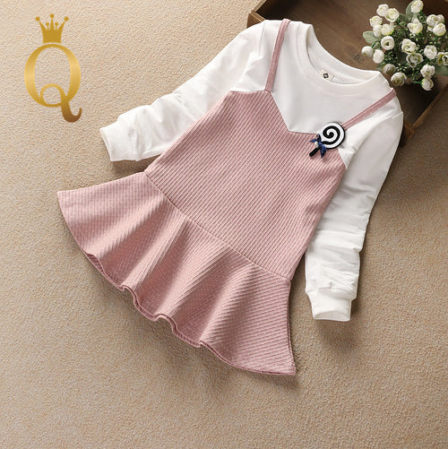 Girls Pretend Two-Piece Frill Dress - -
