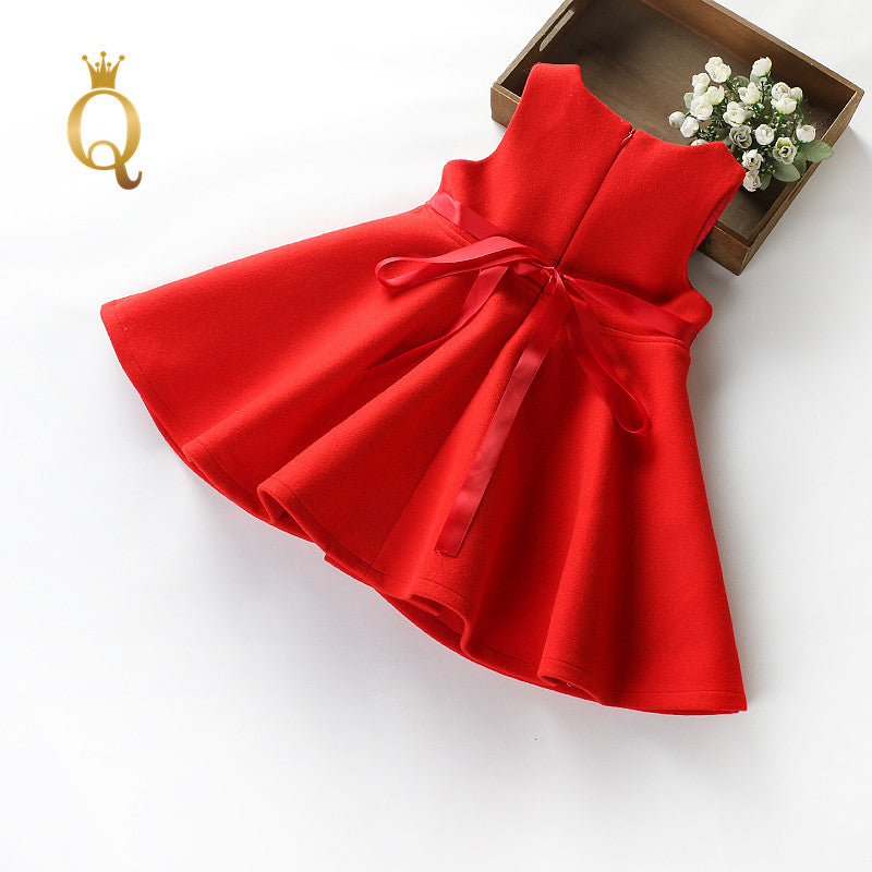 Girls Umbrella Shaped Winter Dress - -