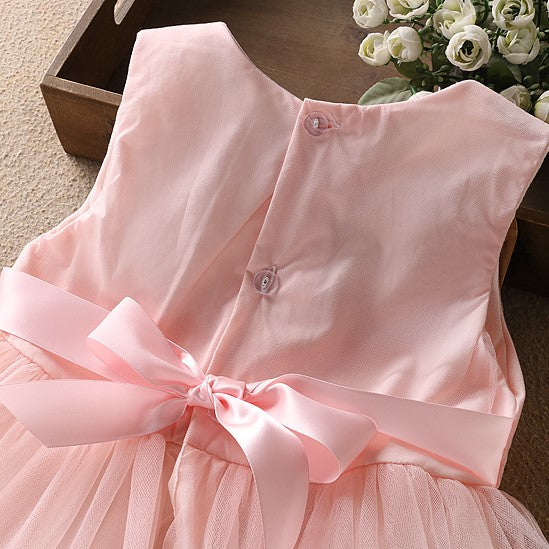Girls Embroidery Rose Tulle Dress - - In Transit