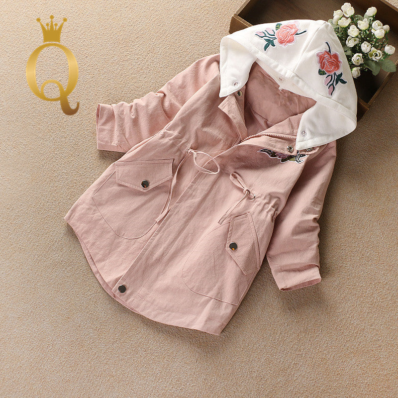 Girls Embriodery Hooded Parka - 100 (3-4Y) / Pink -