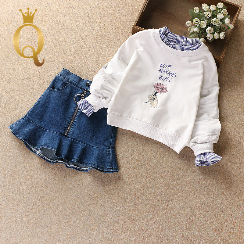 Girls Fashion Sweater And Denim Skirt Set (2 Piece Set) - 100 (3-4Y) / White -