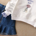 Girls Fashion Sweater And Denim Skirt Set (2 Piece Set) - -