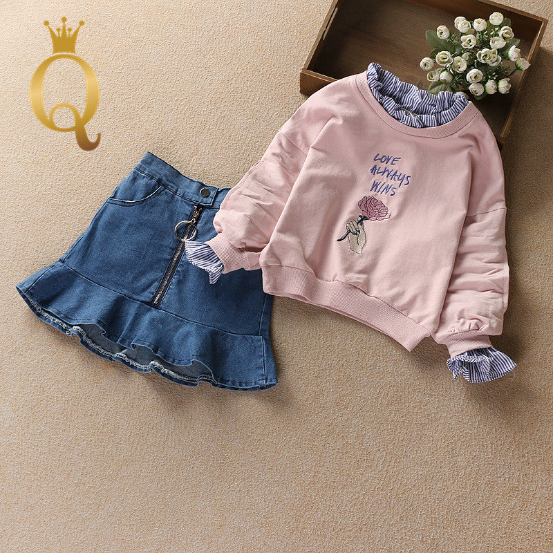 Girls Fashion Sweater And Denim Skirt Set (2 Piece Set) - 100 (3-4Y) / Pink -