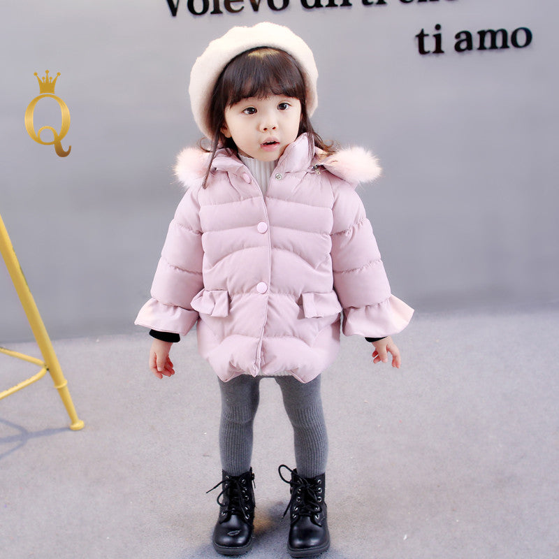 Girl's Frill Sleeve Removable Hood Padded  Winter Jacket