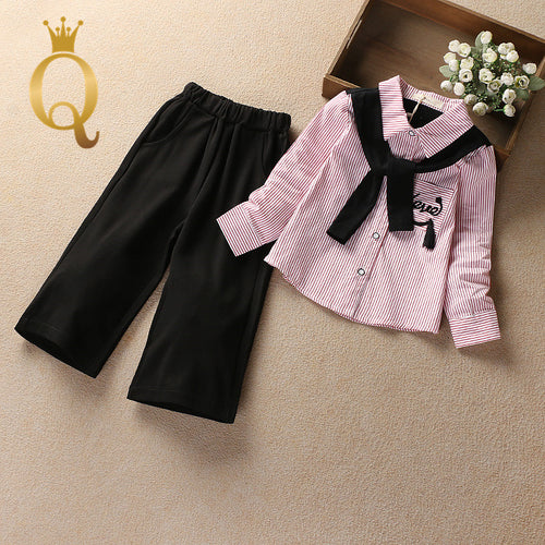 Girls Stylish Shirt And Boot Cut Trousers Set (2 Piece Set) - -