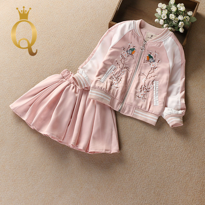 Girl's Embroidery Bomber Jacket And Matching Skirt Set (2 Piece Set)